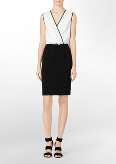 colorblock deep v-neck belted dress