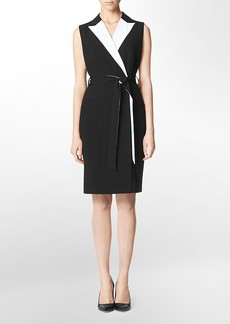 colorblock faux wrap belted sleeveless shirt dress