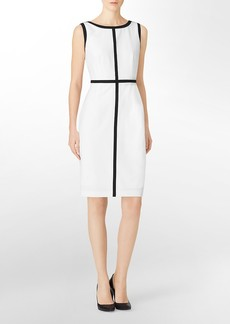 colorblock piping detail sleeveless sheath dress