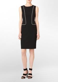 colorblock piping faux flap pocket sheath dress