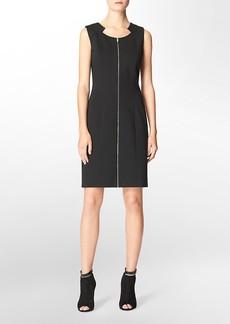 cutout detail scoopneck zip front sleeveless shift dress