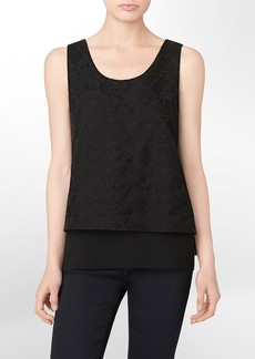 embroidered geometric sleeveless top