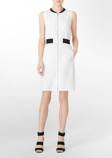 exposed zip front 4-pocket sleeveless dress