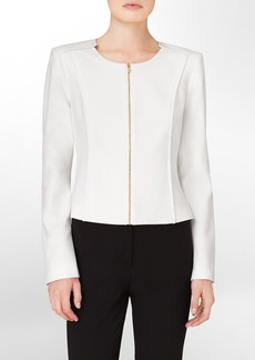 exposed zip front cropped suit jacket