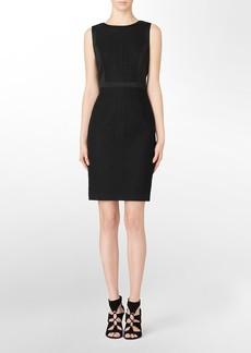 eyelet sleeveless sheath dress