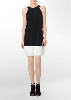 faux leather detail colorblock halter dress