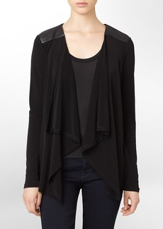 faux leather trim flyaway sweater