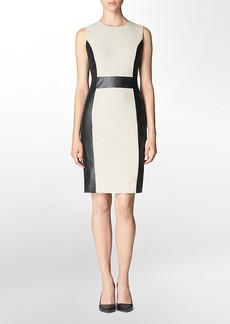 faux leather trim ponte sheath dress