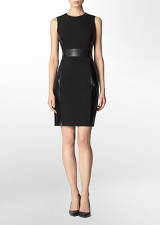 faux leather trim ponte sheath dress