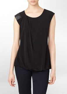 faux leather trim sleeveless top