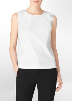 geometric eyelet cutout sleeveless top