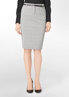 grey mini plaid pencil suit skirt