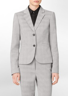 grey mini plaid suit jacket