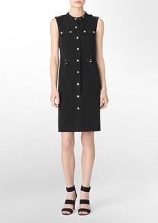 hardware button detail cinched waist sleeveless dress