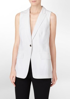 jacquard textured button front vest