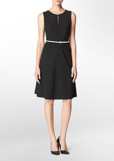 keyhole belted sleeveless fit + flare dress