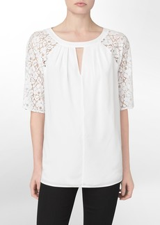 lace detail 3/4 sleeve top