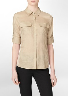 lightweight linen roll up shirt