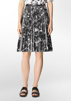 marble print faux leather pleated skirt