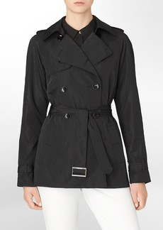 mesh accent trench coat