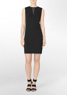 mesh v-cutout sheath dress