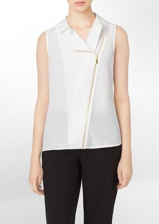 moto asymmetrical zip sleeveless top