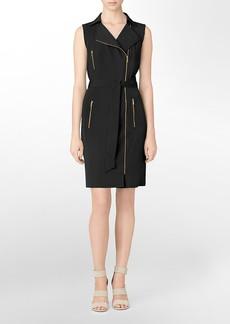 moto style asymmetrical zip front sleeveless dress