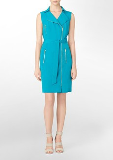 moto style asymmetrical zip front sleeveless dress
