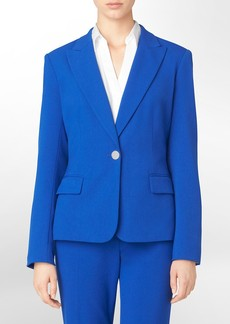 one button cobalt blue cotton stretch suit jacket