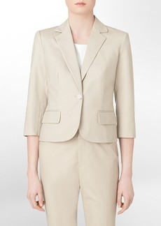 one button cotton stretch khaki suit jacket