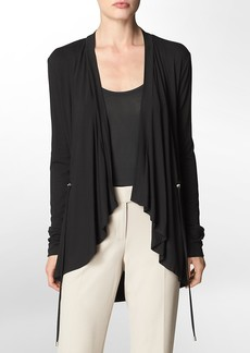 open front drawstring closure cardigan
