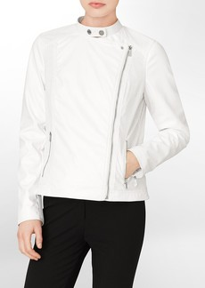 perforated faux leather flyaway detail moto jacket