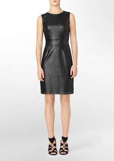 perforated faux leather sleeveless dress