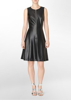 perforated fit + flare sleeveless faux leather dress