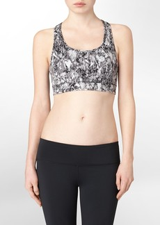 performance floral splatter print sports bra