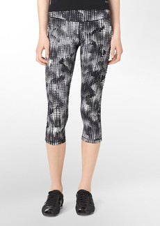 performance graphic dot print ruched cropped leggings