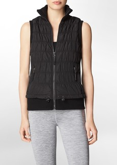 performance ribbed sweater puffer vest