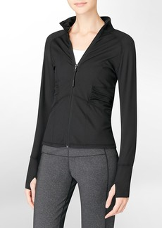 performance ruched sleeve zip-front jacket