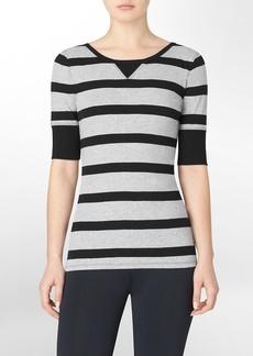 performance striped scoopneck cotton t-shirt