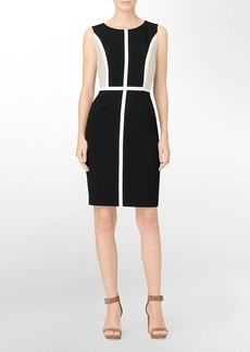 piped detail colorblock sheath dress