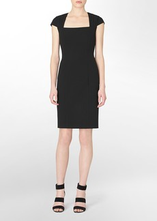 pleated cap sleeve sheath dress