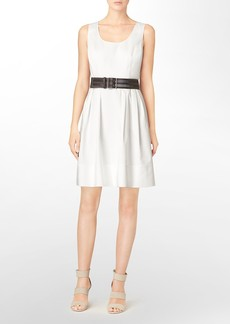 pleated fit + flare belted sleeveless dress
