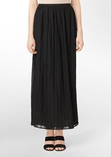 pleated hook + eye closure maxi skirt
