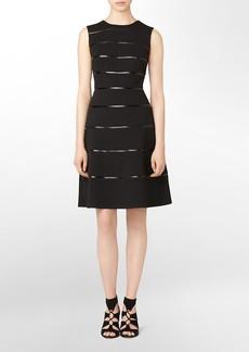 ponte striped sleeveless a-line dress