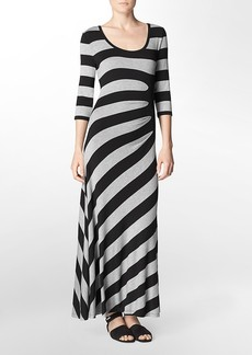 ruched detail striped 3/4 sleeve maxi dress