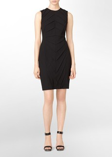 ruched front sleeveless sheath dress