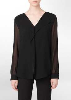 ruffle front roll-up sleeve top