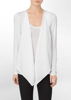semi sheer detail flyaway sweater