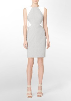 sharkskin colorblock sleeveless sheath dress