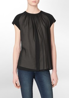slit front short sleeve top